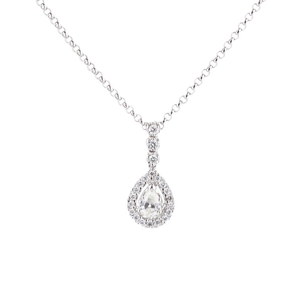 18K White Gold Pear Diamond Halo Drop Necklace