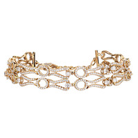 18K Rose Gold Diamond Accented Double Open Chain Bracelet
