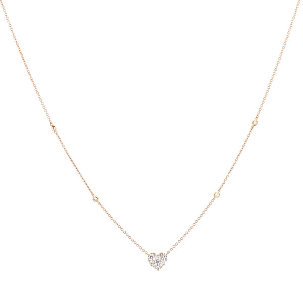 18K Rose Gold Round Diamond Pear Cluster Necklace