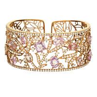 18k Rose Gold Pink Sapphire and White Diamond Floral Filigree Bangle Bracelet