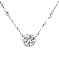 14k White Gold Floral Diamond Cluster Necklace