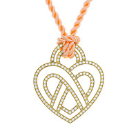 18k Yellow Gold Poiray Diamond Heart On Orange Cord Necklace
