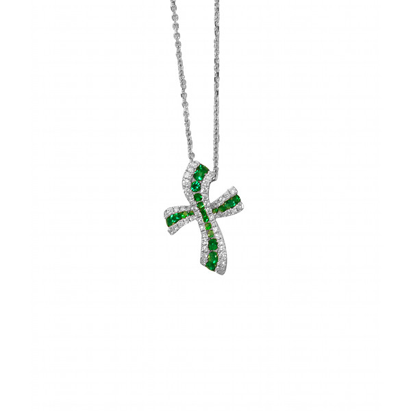 Emerald and Diamond Cross Pendant
