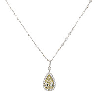Yellow Diamond Pear with Halo Diamond Necklace