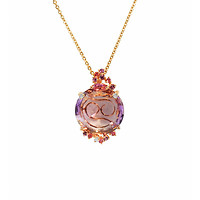Purple Amethyst Round Rose Necklace