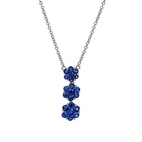 18k White Gold Royal Blue Sapphire Three Flower Pendant Necklace