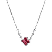 18K White Gold Ruby Clover And Diamond Station Chain Necklace