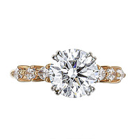 18K Rose Gold Round Brilliant Diamond Center With 6 Pear Shaped Diamond Custom Engagement Ring