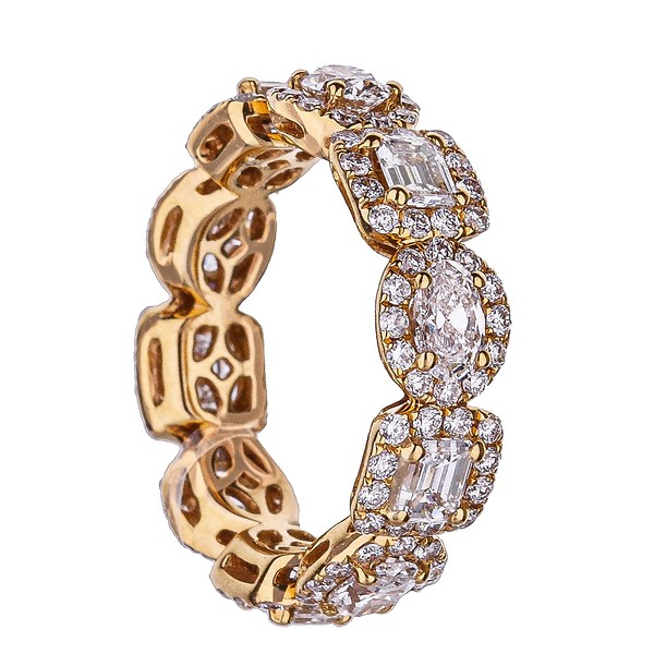 18k Rose Gold Alternating Emerald and Oval Diamond Eternity Band