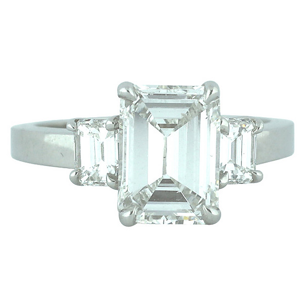 Emerald-Cut Three-Stone Platinum Engagement Ring