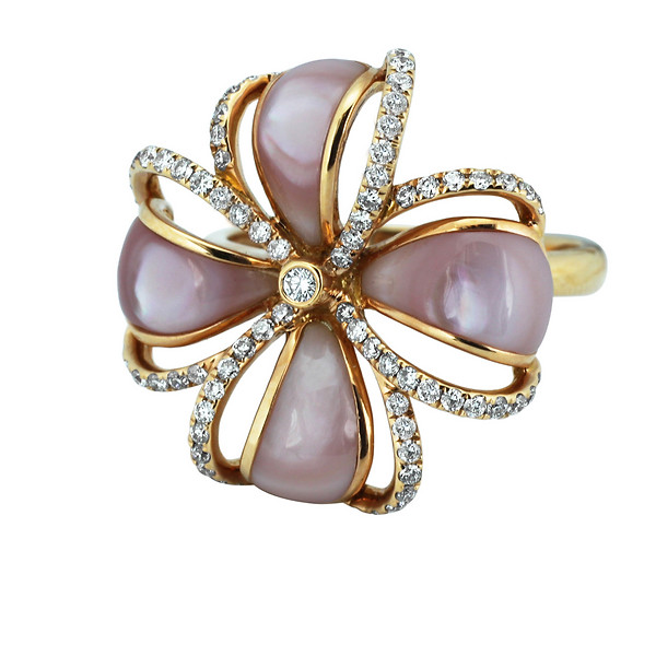 Rose Gold Pink Mother-of-Pearl and Diamond Ring