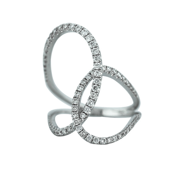 White Gold & Diamond Wide Knot Ring