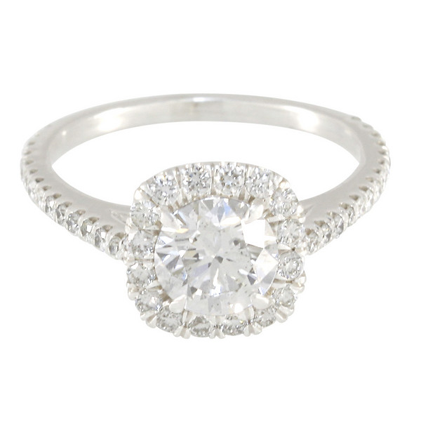 Custom Burdeen's Cushion-Top Round Diamond Halo Platinum Engagement Ring