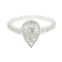 18k White Gold Pear Brilliant-Cut Diamond Halo Engagement Ring
