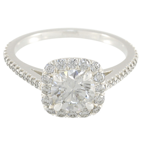 Custom Burdeen's Cushion-Top Round Diamond Halo Engagement Ring in Platinum