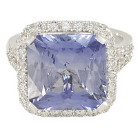 18k White Gold Square Radiant-Cut Sapphire in a Cushion Halo Split-Shank Engagement Ring