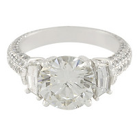 Custom Round Ideal-Cut Diamond Platinum Engagement Ring with Epaulette-Cut Diamond Accents with 5-Sided Pave Shank