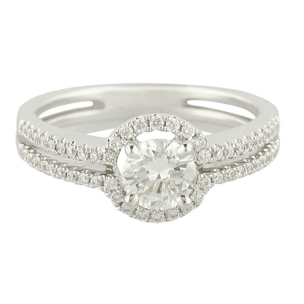 18k White Gold Split-Shank with Round Halo Round Diamond Engagement Ring