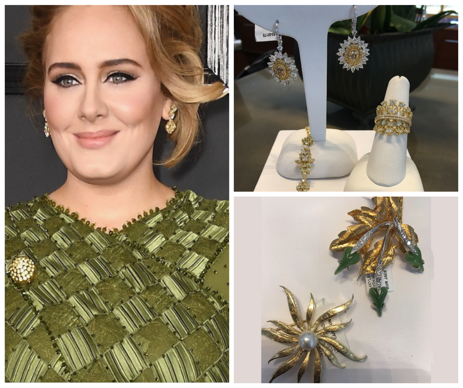 Adele with a broach and earrings