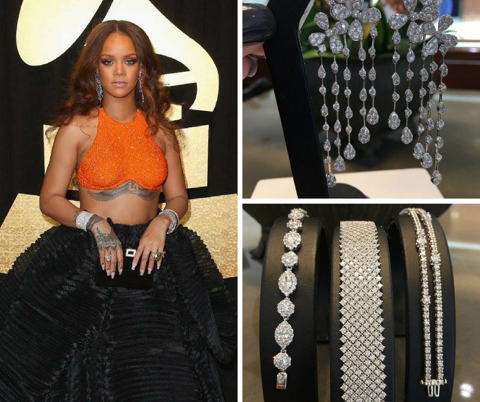 Rihanna with Chandelier Earrings and Stacked Diamond Bracelets