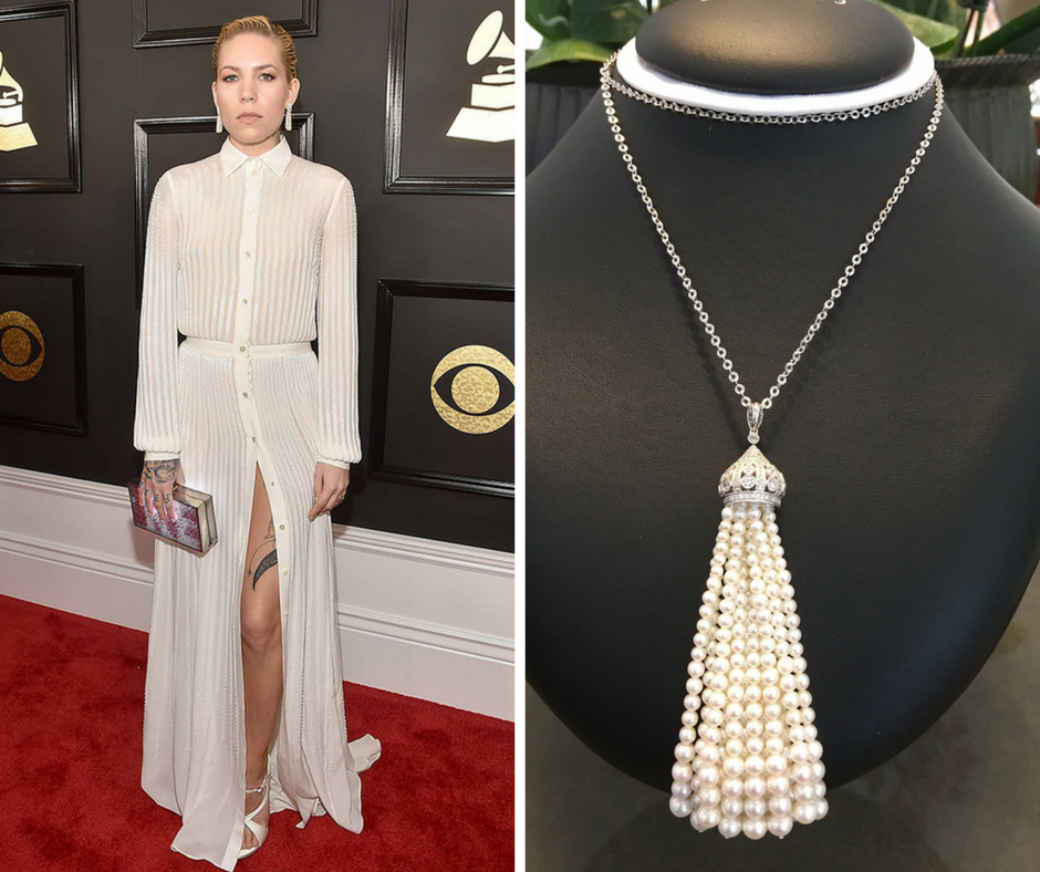 Alberto E. Rodriguez/Getty Images for NARAS - Skylar Grey with a matching Burdeen's Jewelry Tassel Necklace