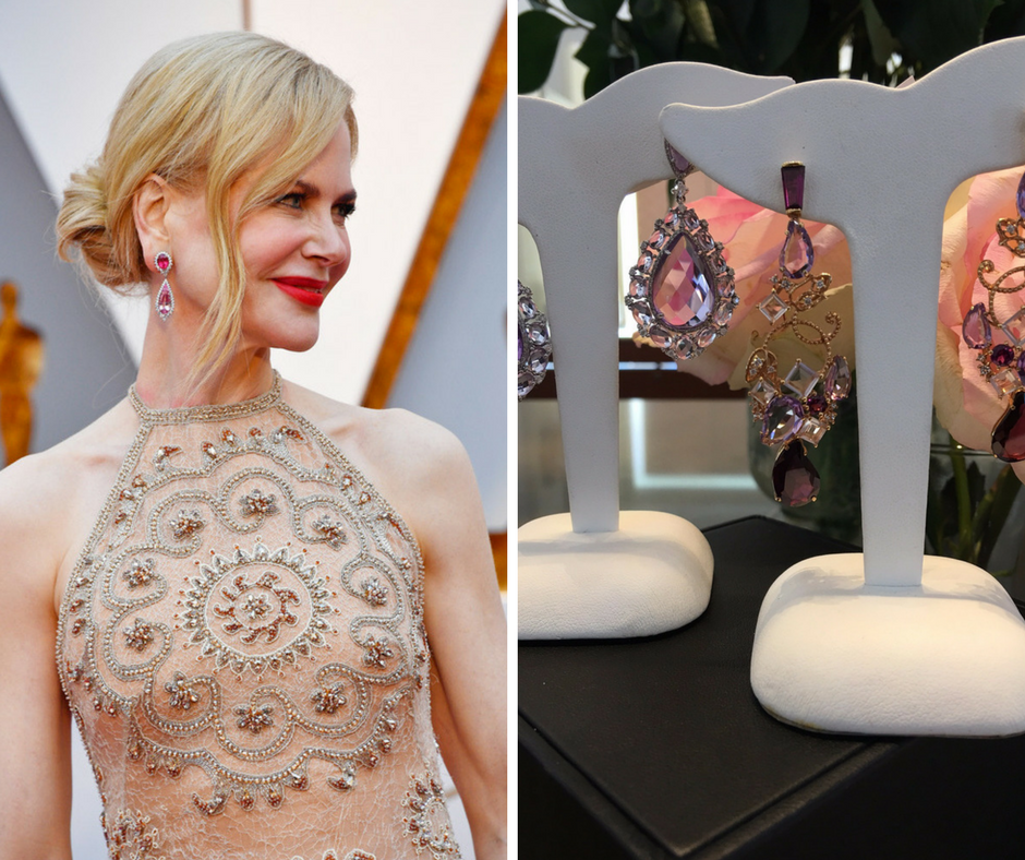Nicole Kidman wore Red/Purple/Pink Long hanging Earrings for the Oscars.